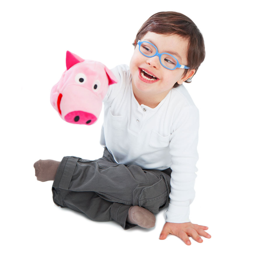 boy with pig puppet