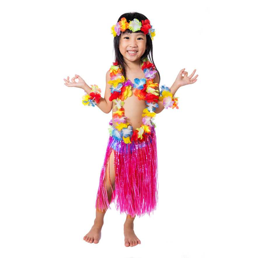 girl in hula skirt