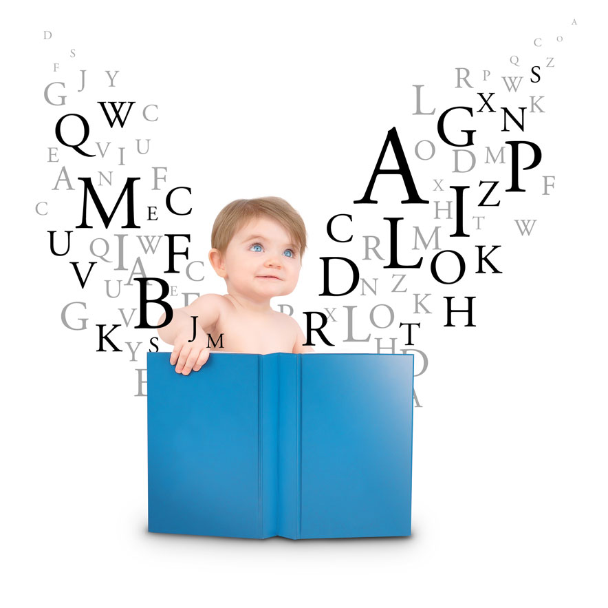 boy reading with floating letters
